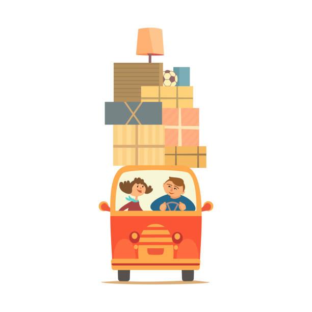 ilustrações, clipart, desenhos animados e ícones de mudar para casa nova - casa nova