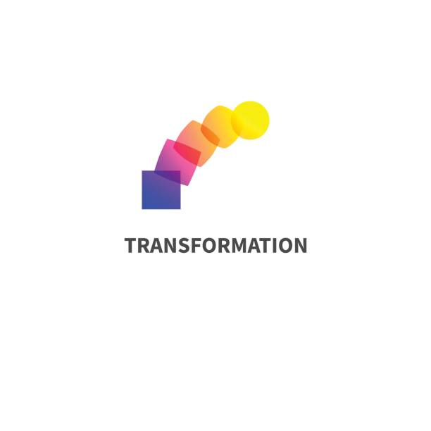 change, transformation Logo change, transformation. Business icon, innovation, development. Vector illustration of circle turns into square transformation stock illustrations