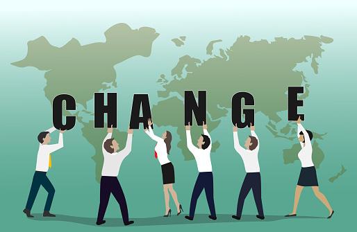 Change word teamwork concept