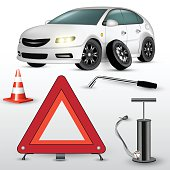 Changing the car wheel. Warning triangle and hand pump. Vector illustration