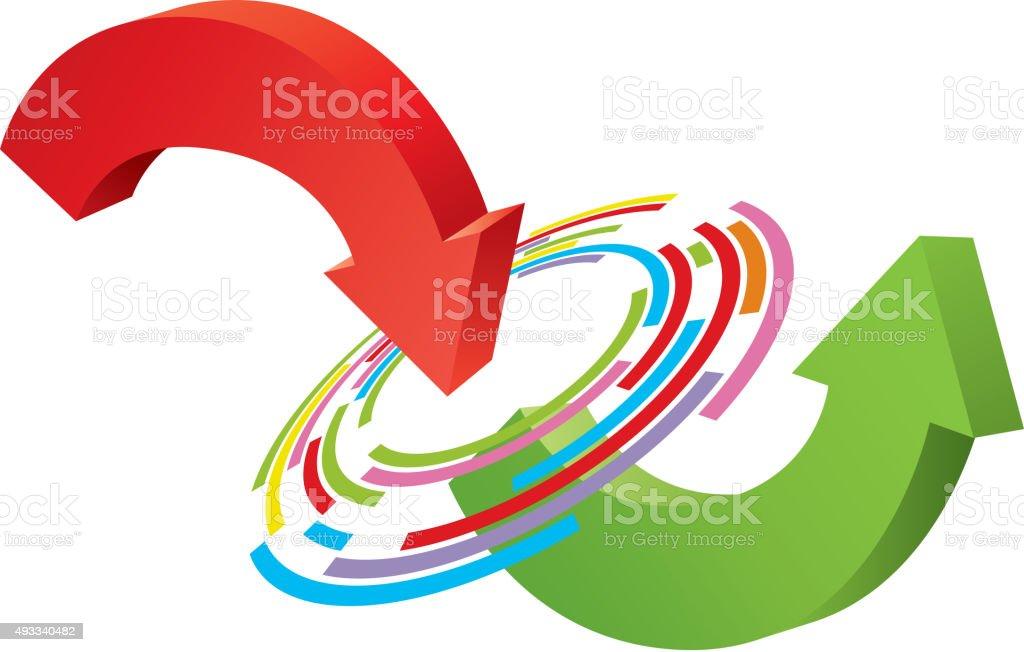 Changing arrow vector art illustration