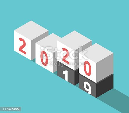 Isometric 2019 cubes going and 2020 coming on turquoise blue. New Year, change, time, future, expectation and analysis concept. Flat design. Vector illustration, no transparency, no gradients