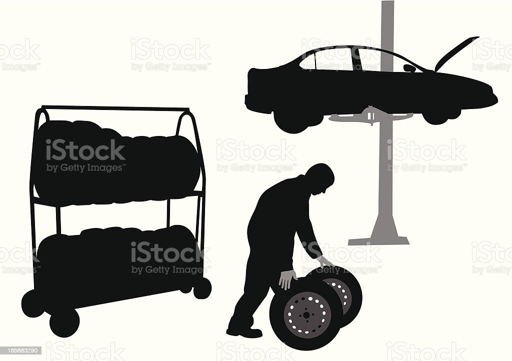 Changing Tires Vector Silhouette vector art illustration