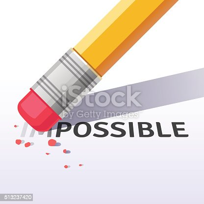 Changing the word impossible to possible with a pencil eraser. Flat style vector illustration isolated on white background.