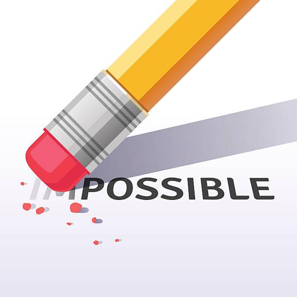 stockillustraties, clipart, cartoons en iconen met changing word impossible to possible with eraser - absentie