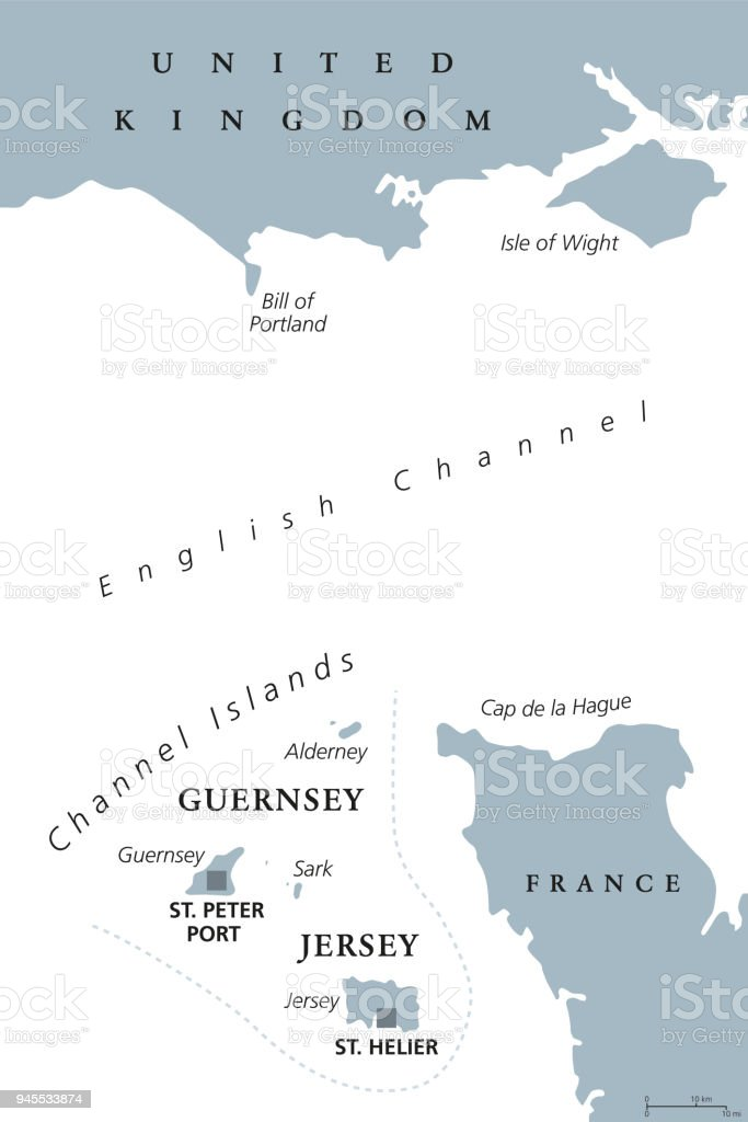 Channel Islands Guernsey And Jersey Gray Political Map Stock ... on