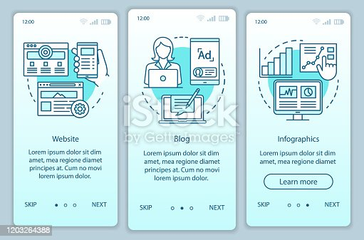 Channels for SEO turquoise onboarding mobile app page screen vector template. Marketing. Website, blog walkthrough website steps with linear illustrations. UX, UI, GUI smartphone interface concept