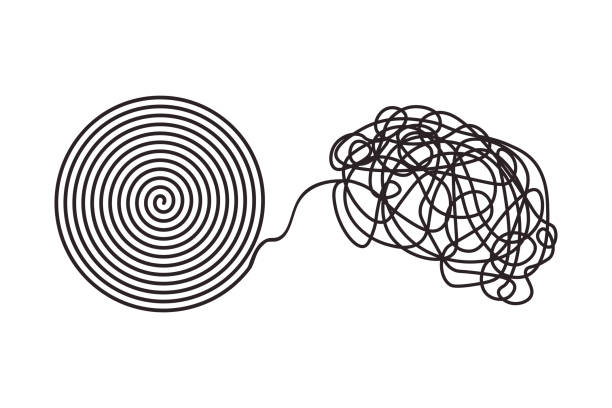 Chaos and disorder turns into a formed even tangle with one line. Chaos and disorder turns into a formed even tangle with one line. Chaos and order theory. mess stock illustrations