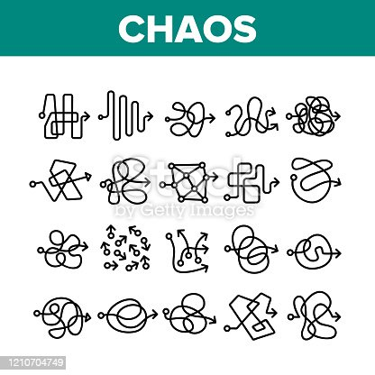 Chaos Arrow Movement Collection Icons Set Vector. Confused Complicated Way As Chaos Or Problem, Chaotic Direction, Negative Space Concept Linear Pictograms. Monochrome Contour Illustrations