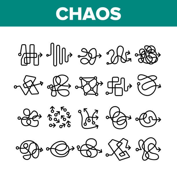 stockillustraties, clipart, cartoons en iconen met chaos arrow movement collection icons set vector - chaos