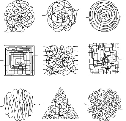 Chaos lines. Scribble messy shape threading pattern vector abstract forms