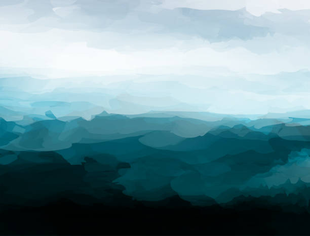 chaos style mountain landscape vector watercolor pattern poster chaos style mountain landscape vector watercolor pattern poster landscapes stock illustrations