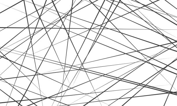 Chaotic abstract lines abstract geometric pattern background. Vector black diagonal crossed lines for modern contemporary art backdrop white design template Chaotic abstract lines abstract geometric pattern background. Vector black diagonal crossed lines for modern contemporary art backdrop white design template crisscross stock illustrations