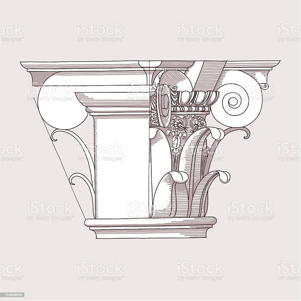 Chapiter - hand draw sketch vector art illustration