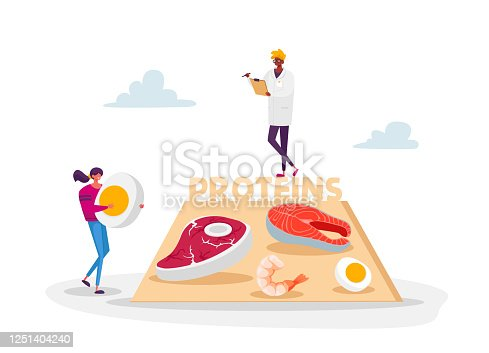 Character Bring Protein Products for Keto Diet. Male Doctor Nutritionist in White Robe Holding Clipboard Writing Notes. Dietology Science, Healthy Nutrition Concept. Cartoon People Vector Illustration