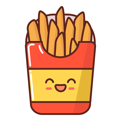 Character cardboard packaging with fries.