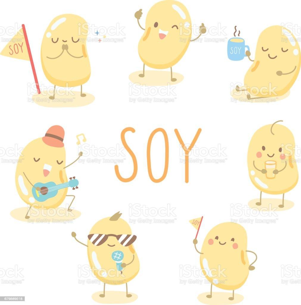 character cartoon cute soy vector art illustration