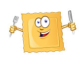 character cartoon of ravioli pasta vector icon
