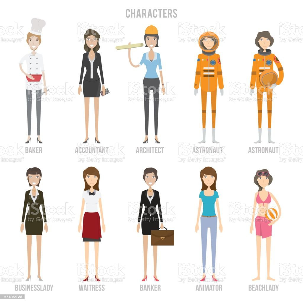 Character Collection Set vector art illustration