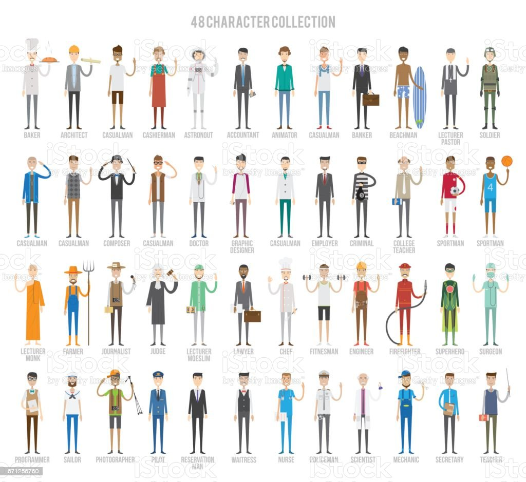 48 Character Collection Set vector art illustration