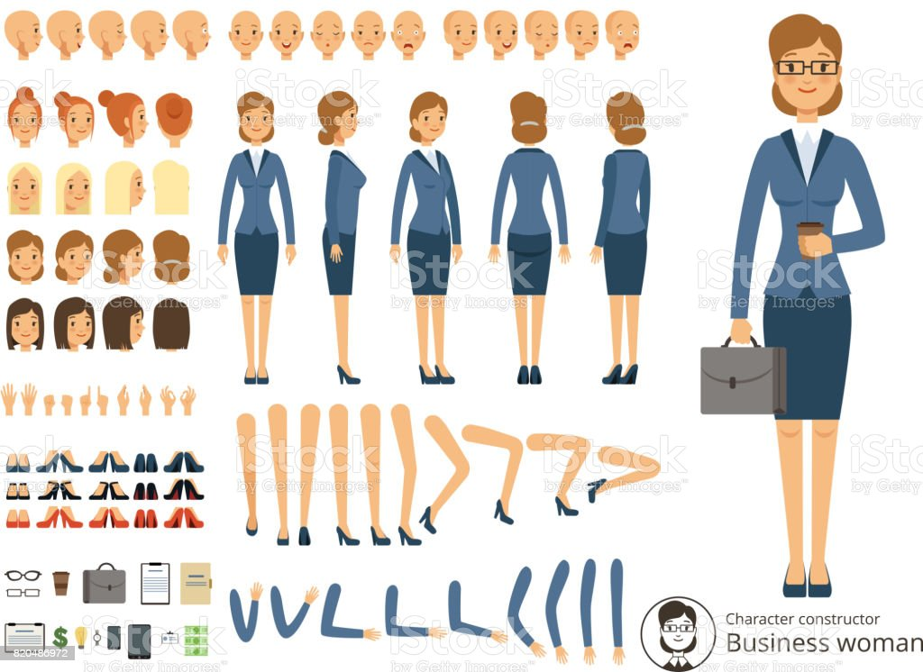 Character constructor of business woman. Cartoon vector illustrations of different body parts and thematic elements