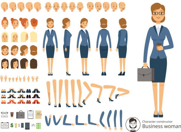 Constructeur de caractère de femme d'affaires. Illustrations vectorielles caricature des différentes parties du corps et des éléments thématiques - Illustration vectorielle