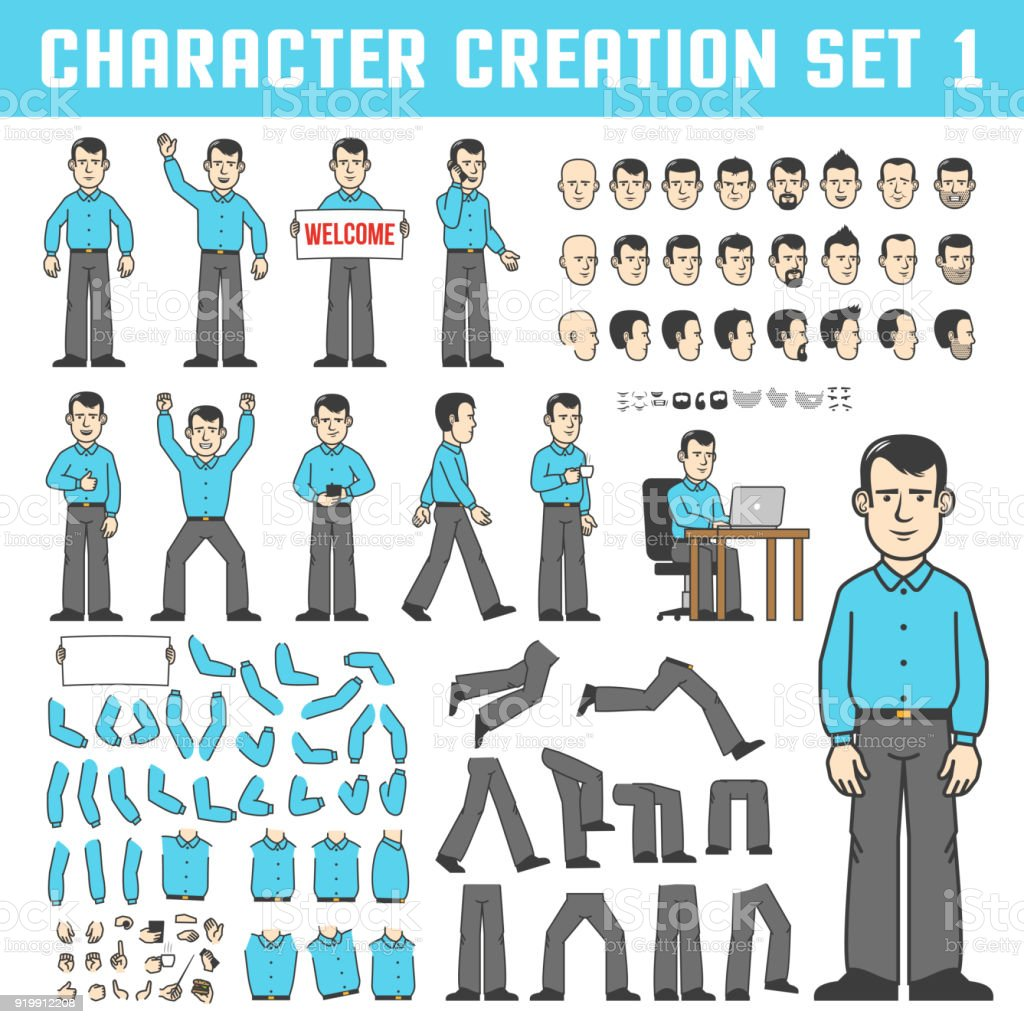 Character creation set vector art illustration