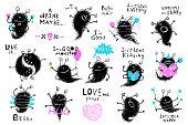 Bundle of funny hand drawn monsters clip art. Vector cartoon.