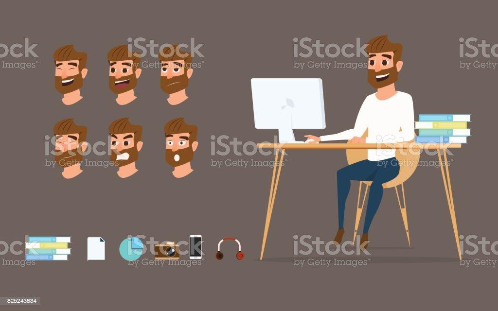 Charakter-Design. Geschäftsmann, arbeiten auf desktop-Computer mit verschiedenen Emotionen auf Gesicht. – Vektorgrafik