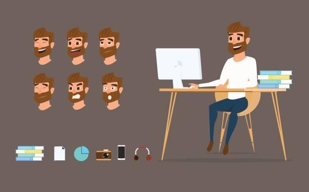 charakter-design. geschäftsmann, arbeiten auf desktop-computer mit verschiedenen emotionen auf gesicht. - berufstätige männer stock-grafiken, -clipart, -cartoons und -symbole