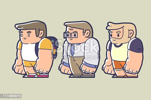 character design of a kid, working man, and an old man chibi