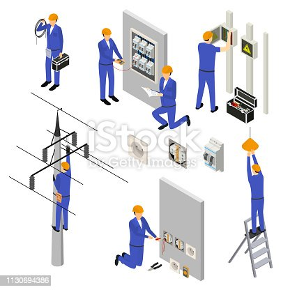 Character Electrician in Uniform and Professional Equipment 3d Icon Set Isometric View. Vector illustration of Electric Service