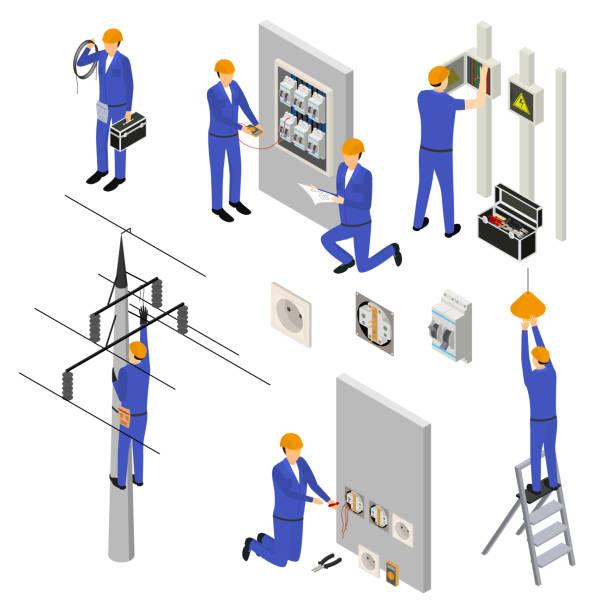 charakter-elektriker in einheitlichen 3d-symbol set isometrischen ansicht. vektor - ingenieur stock-grafiken, -clipart, -cartoons und -symbole