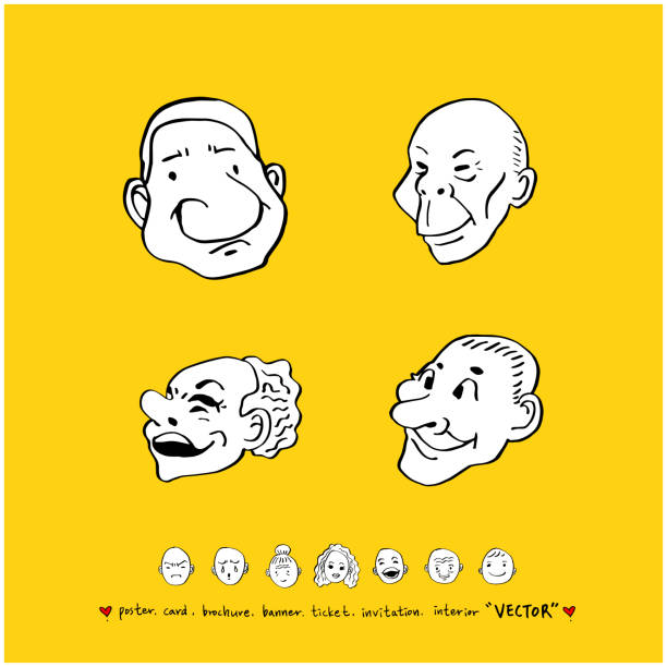 character expression set - old man funny face drawing stock illustrations, clip art, cartoons, & icons