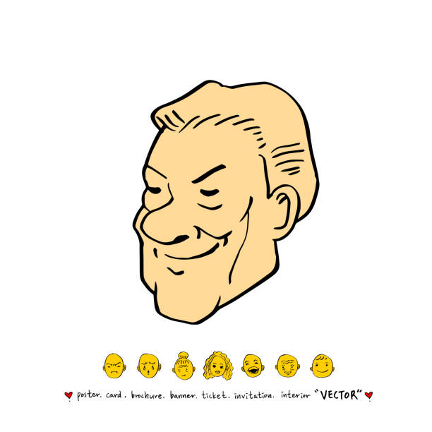 character expression - old man mask stock illustrations, clip art, cartoons, & icons