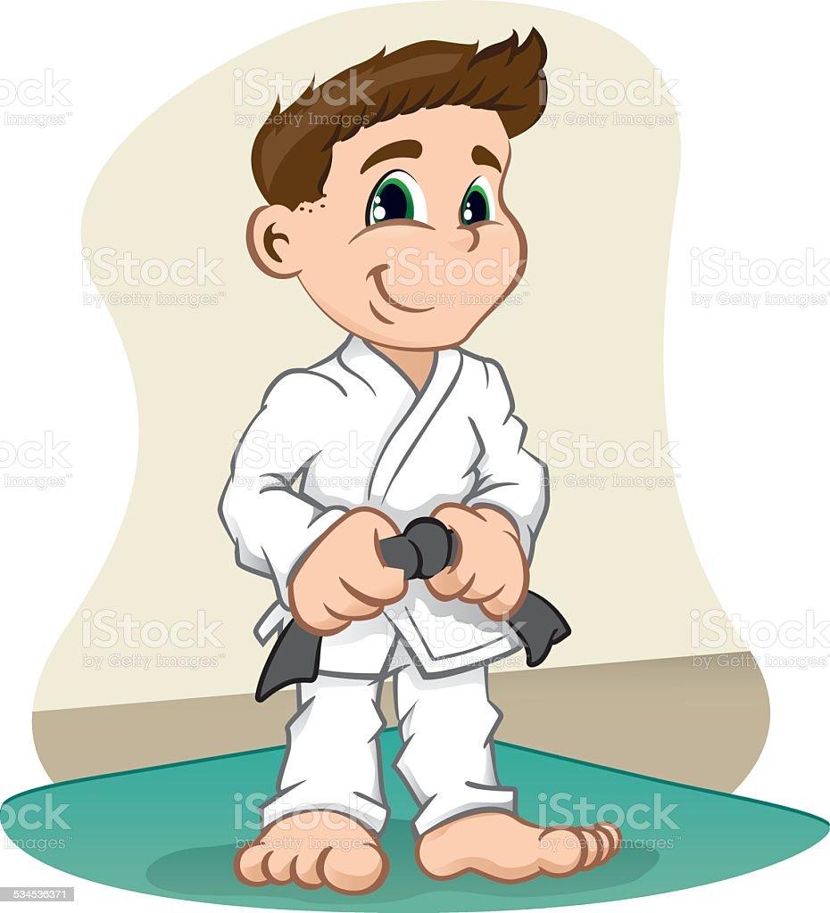 Criança com personagem-Lutador de artes marciais, judo, o Caratê, jujitso, taekwondo - ilustração de arte em vetor