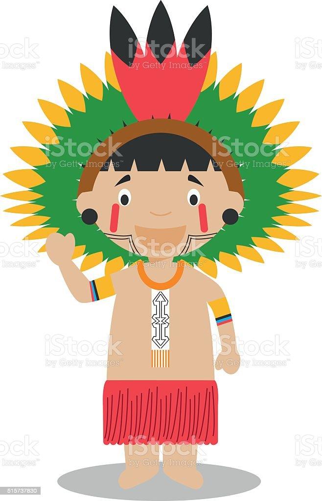Character from Amazon Region in Brazil and Venezuela. Vector Illustration. vector art illustration