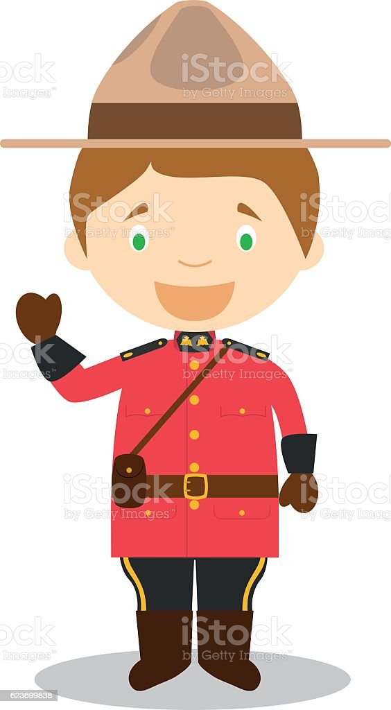 Character from Canada dressed as a Mounted Policeman. Vector Illustration vector art illustration
