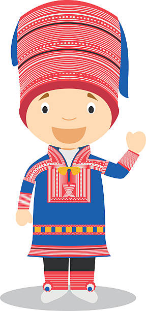 bildbanksillustrationer, clip art samt tecknat material och ikoner med character from lapland dressed in the traditional way vector illustration - norrbotten