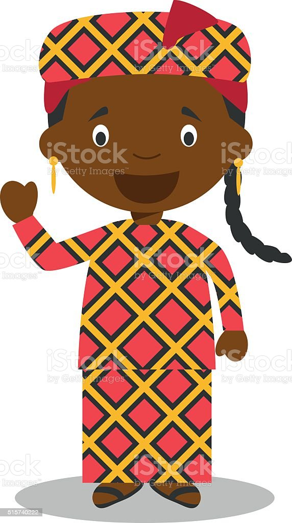 Character from Mali or Central Africa dressed in traditional way vector art illustration