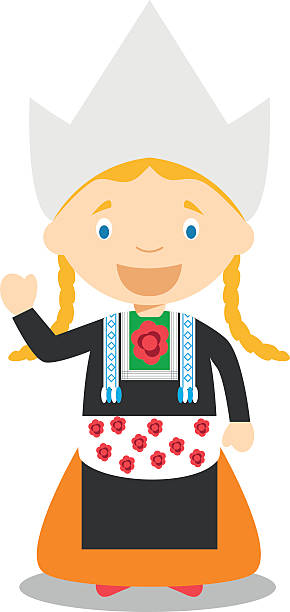 character from netherlands dressed in the traditional way vector illustration. - dutch traditional clothing stock illustrations, clip art, cartoons, & icons