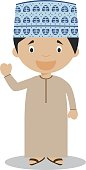 Character from Oman dressed in the traditional way Vector Illustration