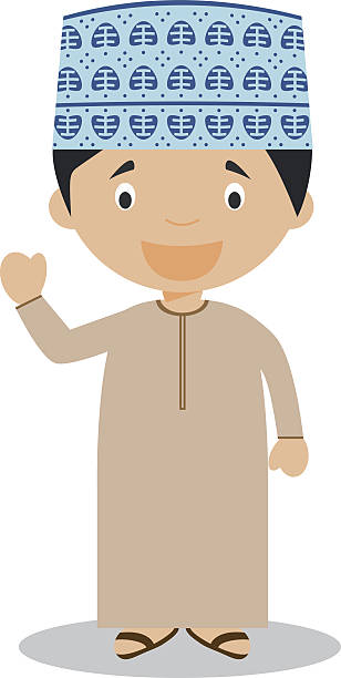 character from oman dressed in the traditional way vector illustration - oman stock illustrations
