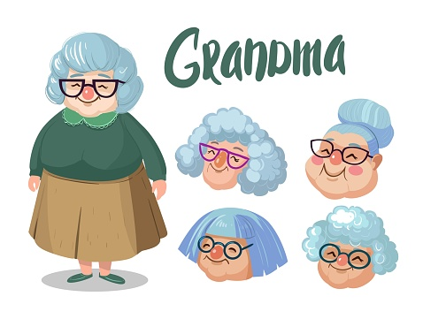 Character grandmother with different faces. Cartoon illustration.
