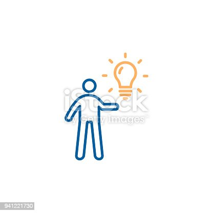 istock Character holding a lightbulb. Vector trendy thin line icon illustration design. Business, education, personal ideas, inspiration, creative strategies. 941221730