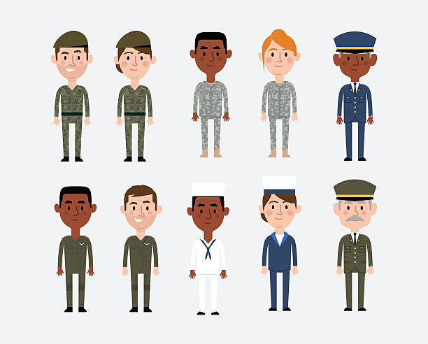 Character Illustrations Depicting Military Occupations Character Illustrations Depicting Military Occupations military uniform stock illustrations
