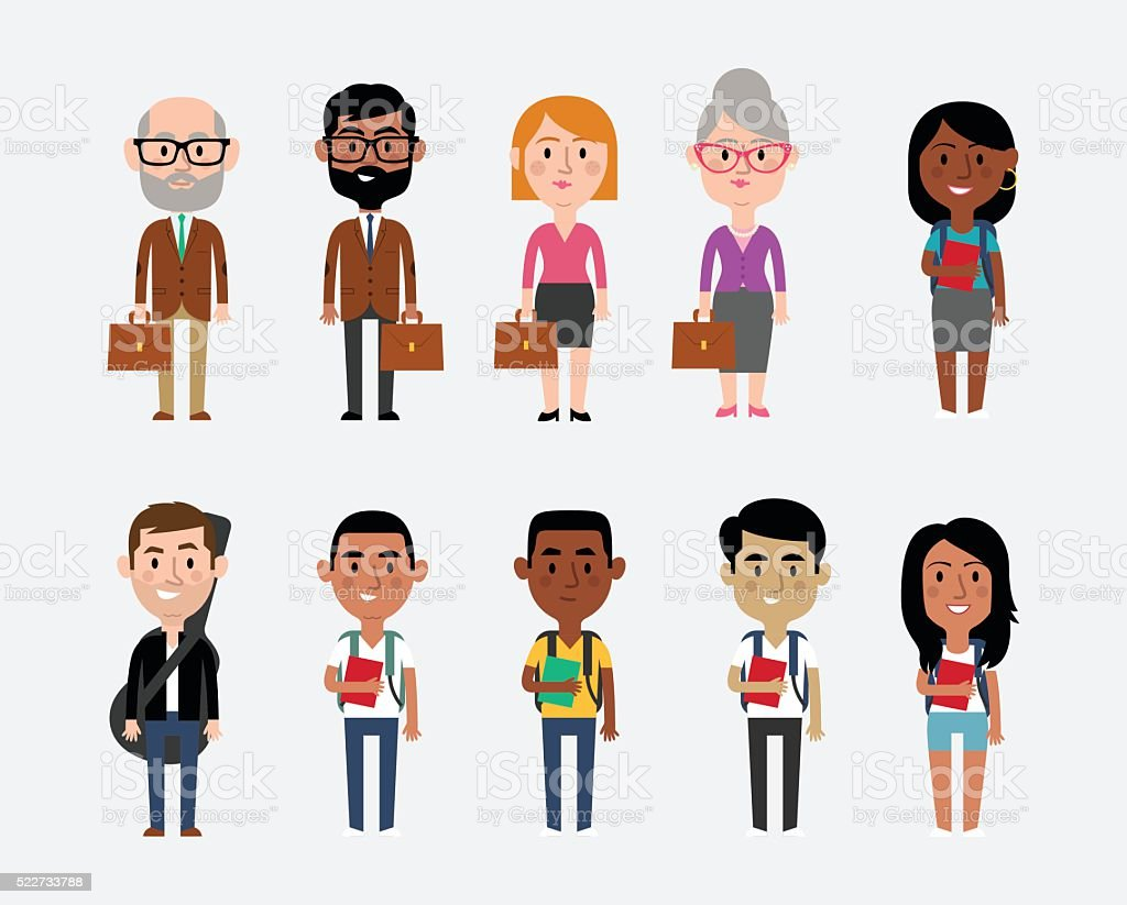Character Illustrations Depicting Occupations In Education vector art illustration