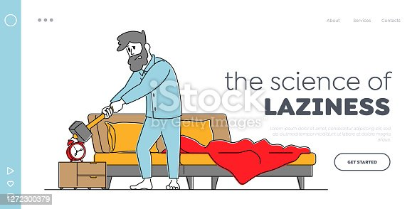 istock Character in Bad Mood Get Up Landing Page Template. Man Waking Up at Morning with Anger Hitting Alarm Clock with Hammer 1272300379