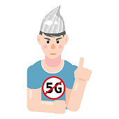 istock Character in foil hat. Conspiracy conspiracy theory, mental disorders. Vector isolated illustration 1263775981