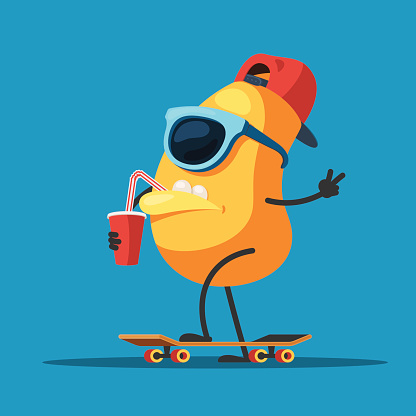 Character monster on a skateboard